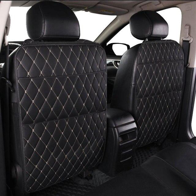 רכב מושב אחסון תיק PU שחור מיקרופייבר עור רכב מושב נגד בעיטת pad אוניברסלי רכב פנים עבור טויוטה KIA לאדה פורד יונדאי