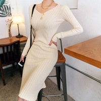 Fashion women new arrival simple knit soft basic dress party high quality comfortable outdoor casual pencil dress