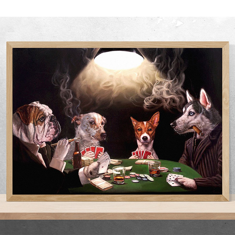 Canvas Dogs Playing Poker Art Print Poster
