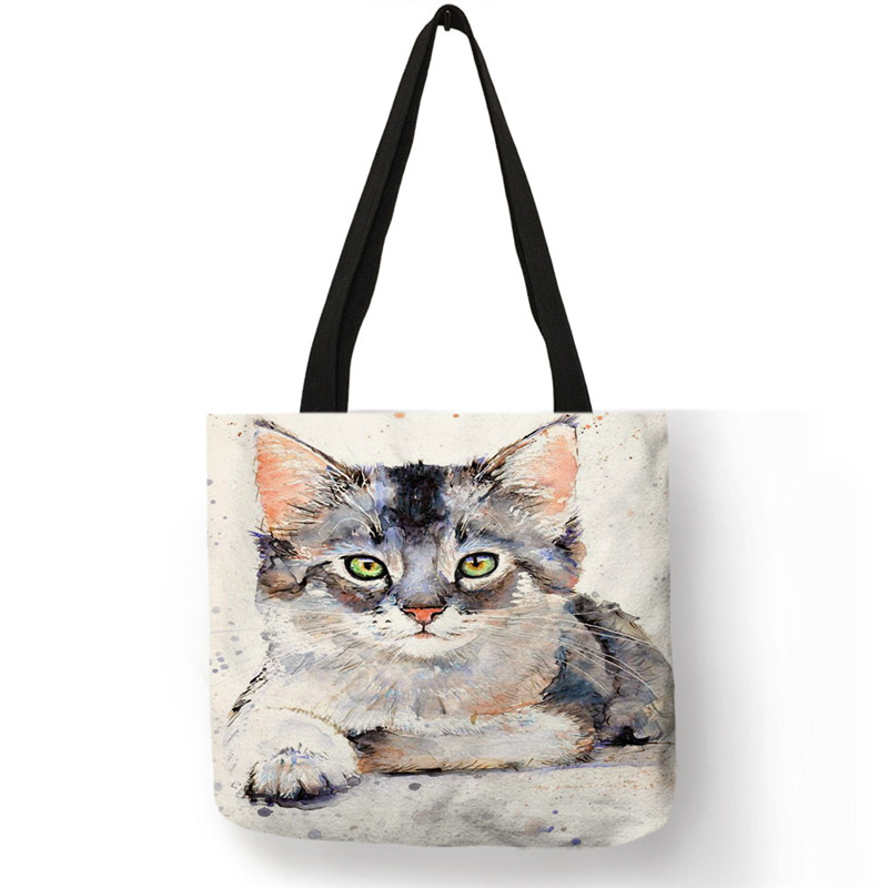 SY0107  Ladies Handbags Designer Tote Bags For Women 2019 Creative Cat Oil Painting Print Shopping Bags Large Capacity