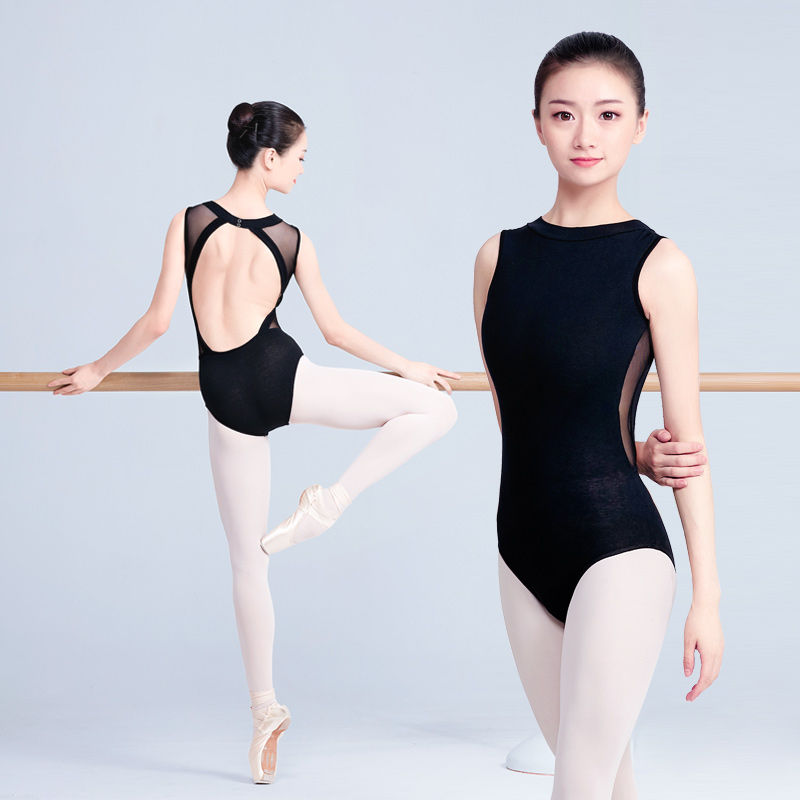 2020 Latest Female Adult Ballet Dress Black High Collar Lace Sleeveless Tights Gymnastics Suit With Open Back Design