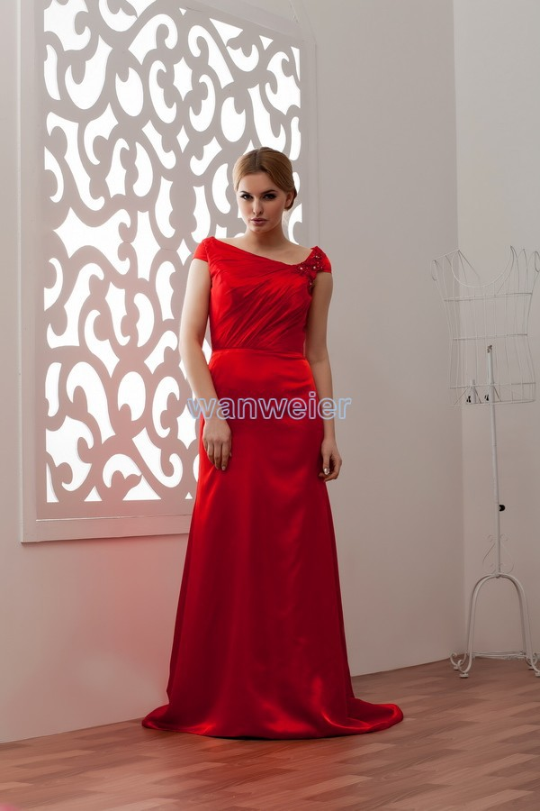 Free Shipping Bridal Gowns 2016 New Design Hot Cap Sleeve Hot Sale Custom Size/color Chinese Red Small Train Bridesmaid Dresses
