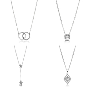 Image 1 - NEW High quality fashion women 100% 925 sterling silver new necklace CZ for female fit diy chain jewelry accessories