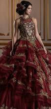 Sang Trọng Đính Hạt Burgundy Quinceanera Váy 2020 Hở Lưng Tầng Xù Váy Sweet 16 Hứa Đồ Bầu