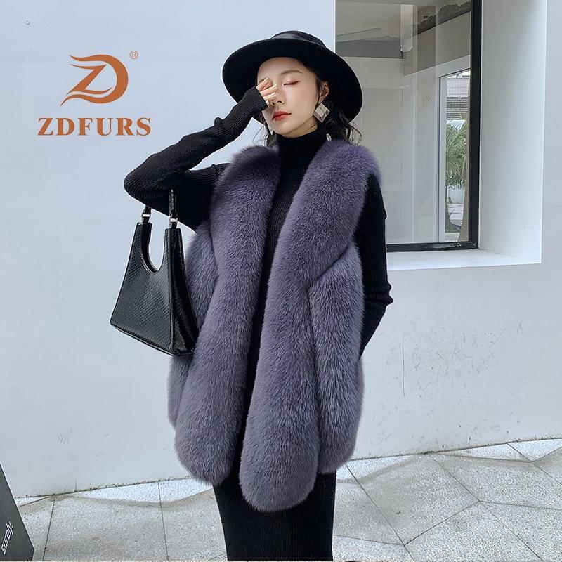 ZDFURS*Real Fox Fur Vest 100% Genuine Natural Fox Fur Sleeveless Jacket Winter Coat Women