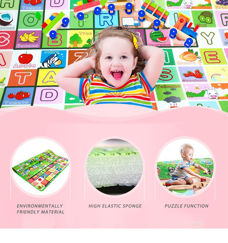 Hd4b0c2c391de493fbbdba55c670b40f6b Baby Play Mat 0.5cm Thick Foldable Crawling Mat Double Surface Baby Carpet Rug Cartoon Developing Mat for Children Game Playmat