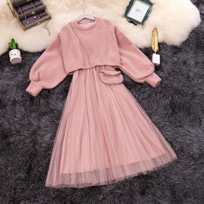 HISUMA 2020 Spring New Female O-neck Lantern Sleeve Knit Blouses  + Strap Fairy Mesh A-line Dress Two-piece Sets Women Suits