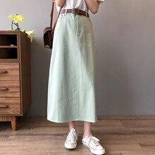 Simple Denim Beige Cotton Skirt Women