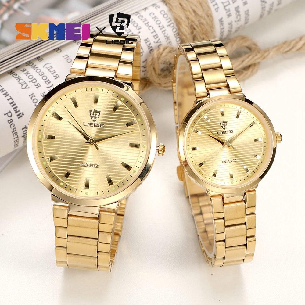 쿼츠 시계 커플 선물 황금 시계 남자 패션 럭셔리 여성 손목 시계 스테인레스 스틸 밴드 relogio masculino L1012