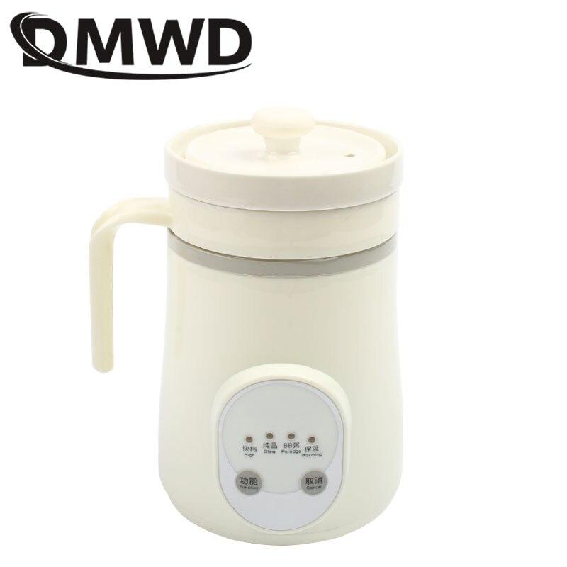 DMWD Ceramics Mini Electric Water Kettle Thermal Heating Cup Boiler Soup Health Pot Stew Porridge Slow Cooker Milk Heater 0.6L