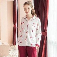 Autumn Winter 100% Cotton Womens Home service Suits Women Long johns Pajamas set for Female Pyjamas Sleepwear