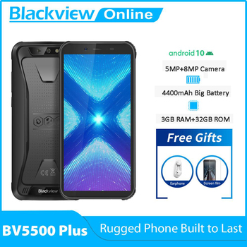 Blackview New BV5500 Plus 3GB+32GB Android 10.0 IP68 Waterproof Rugged Smartphone 5.5'' Full Screen 4400mAh 4G Mobile Phone - discount item  35% OFF Mobile Phones