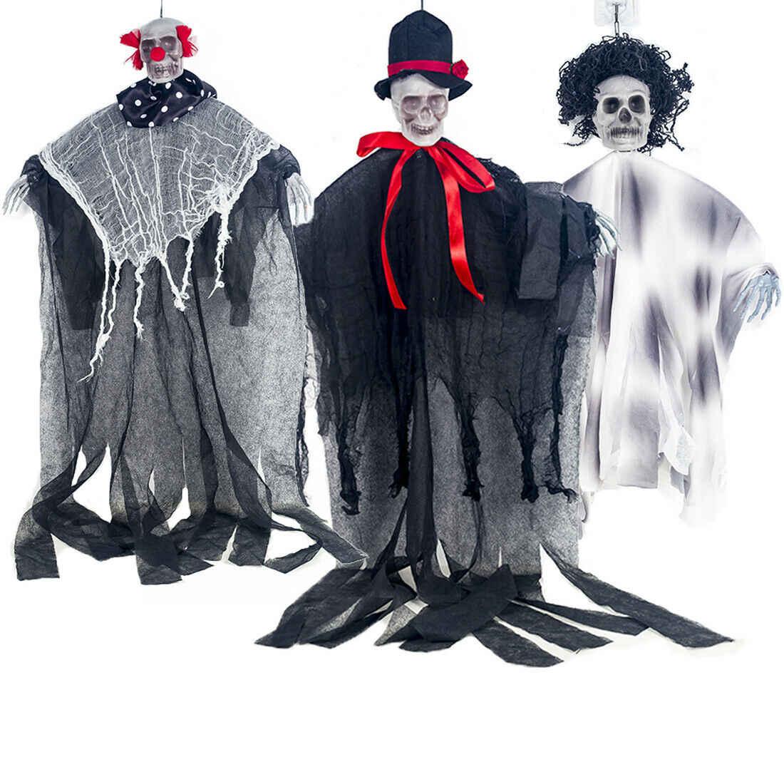 Skull Skeleton Halloween Hanging Pendant Drop Ornaments Ghost Haunted Grim Reaper Horror Prop Door Deco