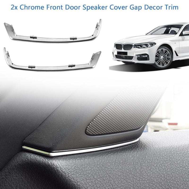 2 шт., автомобильная передняя дверь, динамик, автомобильные аксессуары для интерьера, крышка, зазор, отделка, серебро, ABS, интерьерные молдинги для BMW 5 серии F10 2011-2013