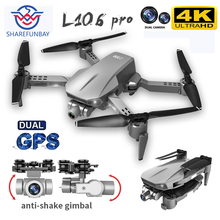 New L106 Pro RC drone 4K HD dual camera GPS WiFi FPV two-axis PTZ brushless motor professional aerial drone PK F11 drone