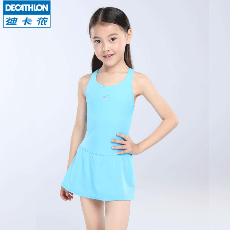 Girl'S One-piece Swimming Suit Swimming Suit Princess Children Conservative Skirt Hot Springs Girls Holiday Nabk