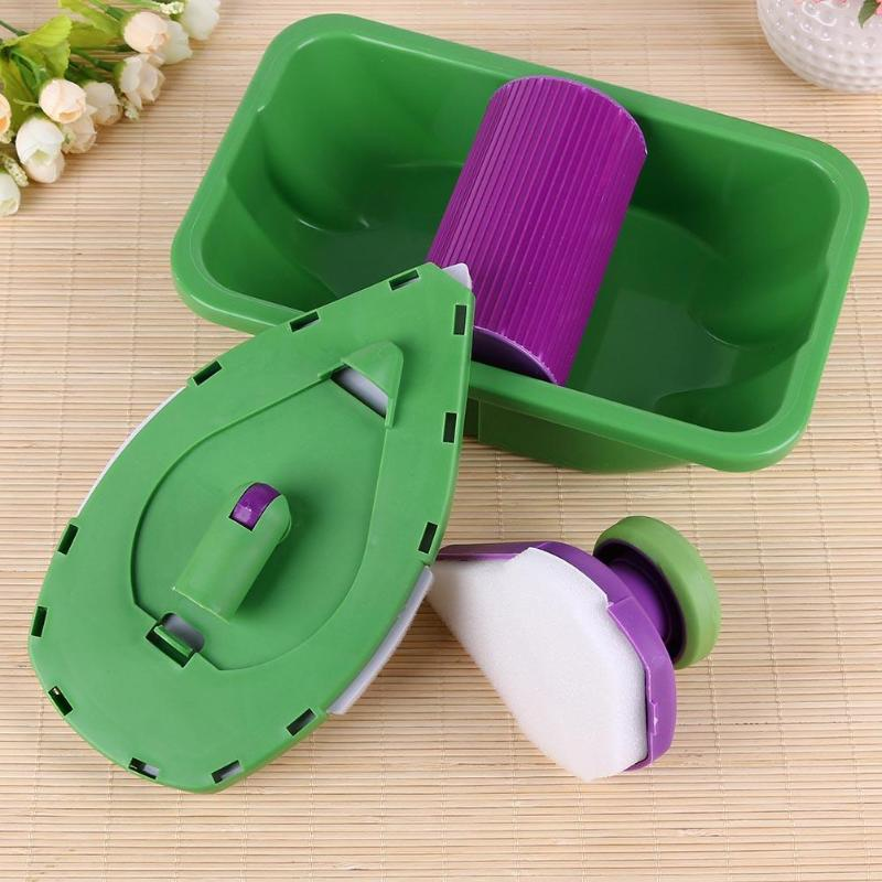 9PCS Paint Roller Tray Sponge Pads Kits Household Painting Brush Wall Decorative Hand Tools Home Office Room DIY Hand Tool Set