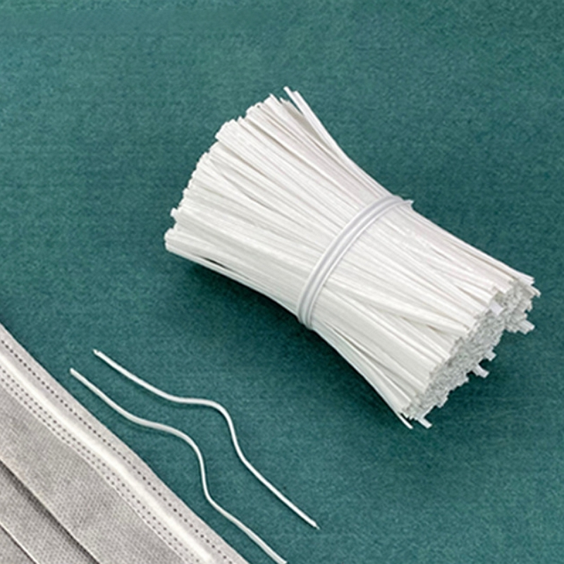 1000pcs PE Plastic Nose Wire Bar For DIY MASK With Galvanized Iron Single Core Inside, Jewelry Making Accessories White 100x3mm