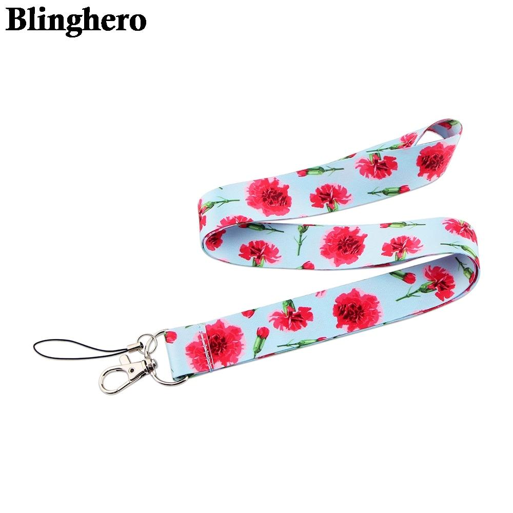 CA1545 Flower Cartoon Cellphone lanyard For key ID Card Gym USB badge holder DIY Hanging Rope Neck lanyards Gift