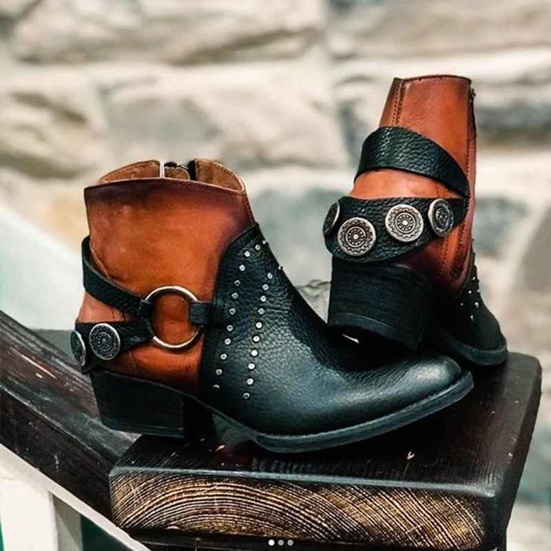JODIMITTY 2020 kadın sonbahar çizmeler yeni PU deri kadın çizmeler Vintage Bohemian ayak bileği kadın ayakkabı fermuar düşük topuk bayan ayakkabı