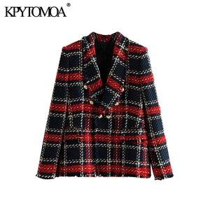 Image 5 - Vintage podwójne piersi postrzępione sprawdzone Tweed Blazers płaszcz kobiety 2020 modne etui kratę panie odzieży dorywczo Casaco Femme