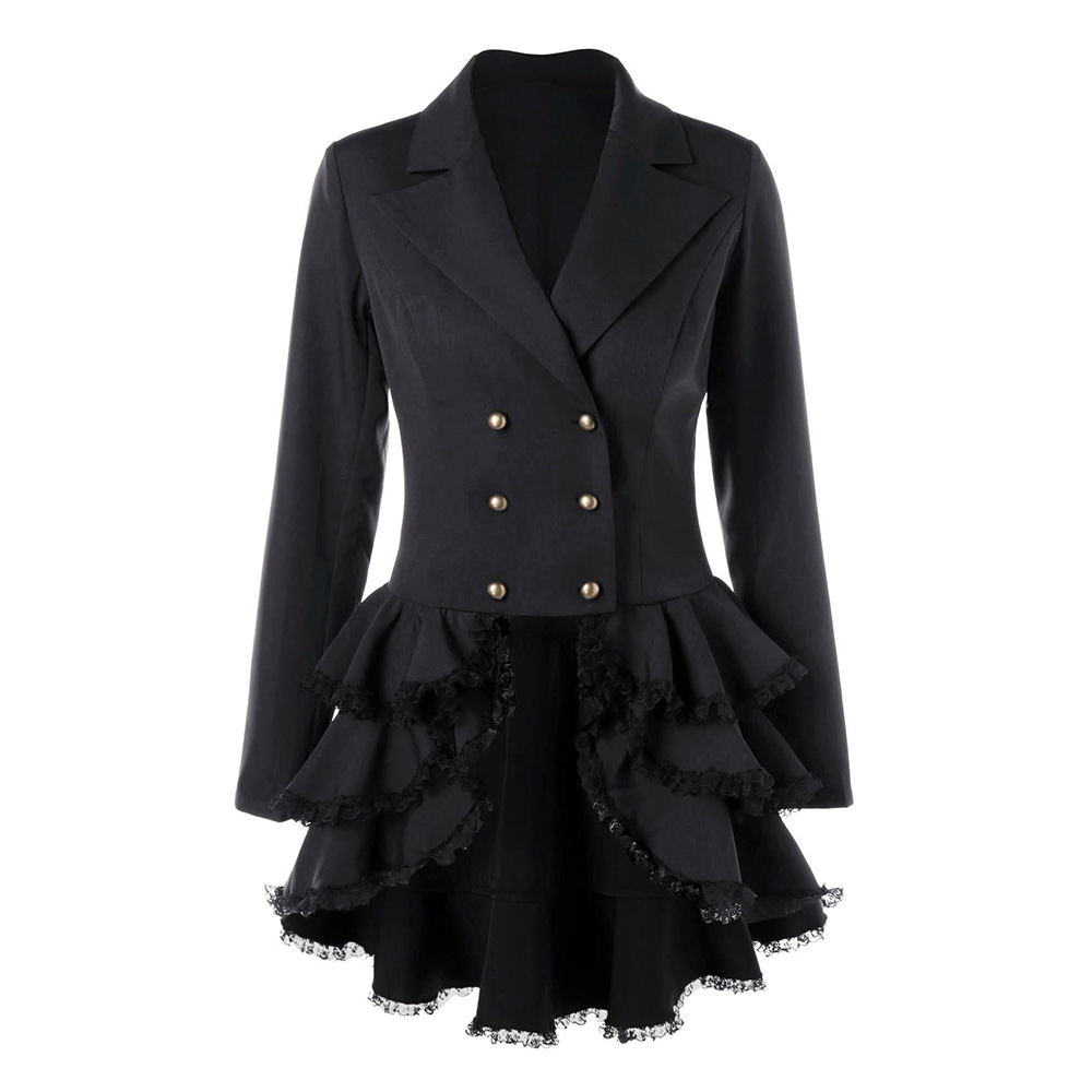 Long Sleeve Little Black Dress Layered Notched Lapel Double-Breasted Patchwork Lace Vintage Sweet Mini Above Knee Dresses