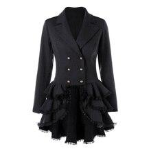 С длинным рукавом маленькое черное платье многослойный зубчатый лацкане двубортный лоскутное кружева старинные сладкий мини выше колена платья для