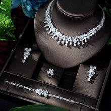 HIBRIDE Charm Clear Water Drop Dubai Jewelry Sets White Color Wedding Necklace Earrings Sets Bijoux bijoux mariage N 1144