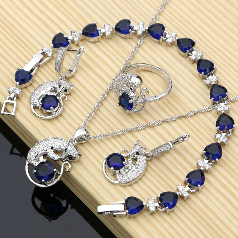 Jewelry-Sets Earrings Stone Anniversary Blue CZ Silver Animal Women for