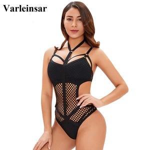Image 3 - XS 5XL malha líquida preta sexy plus size grande mulher roupa de banho um pedaço maiô feminino banhista natação praia monokini v536