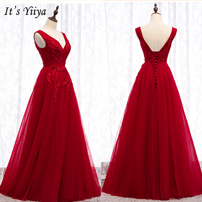 It's Yiiya Evening Dress 2019 Elegant Sleeveless Appliques Robe De Soiree V-Neck Women Party Long Formal Dresses Plus Size E983