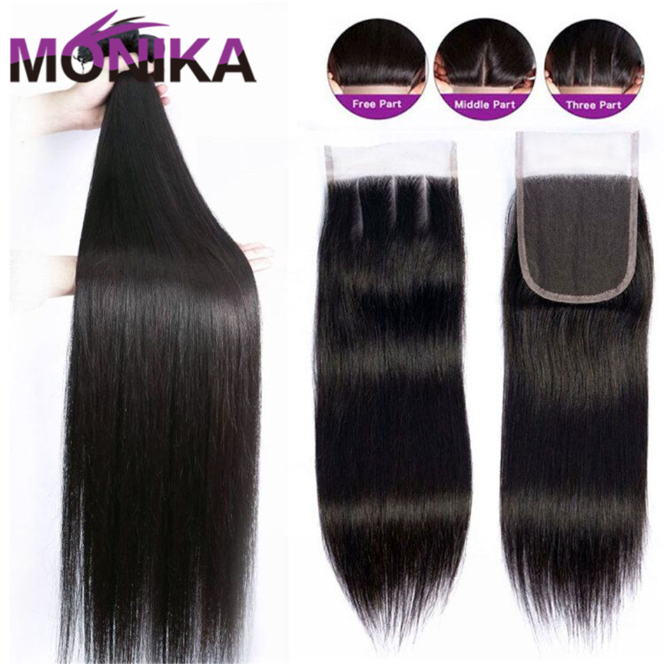Monika 30 Inch Peruvian Hair Bundles With Closure Weave 3Bundles With Lace Closure Non-Remy Human Hair Closures With Bundles