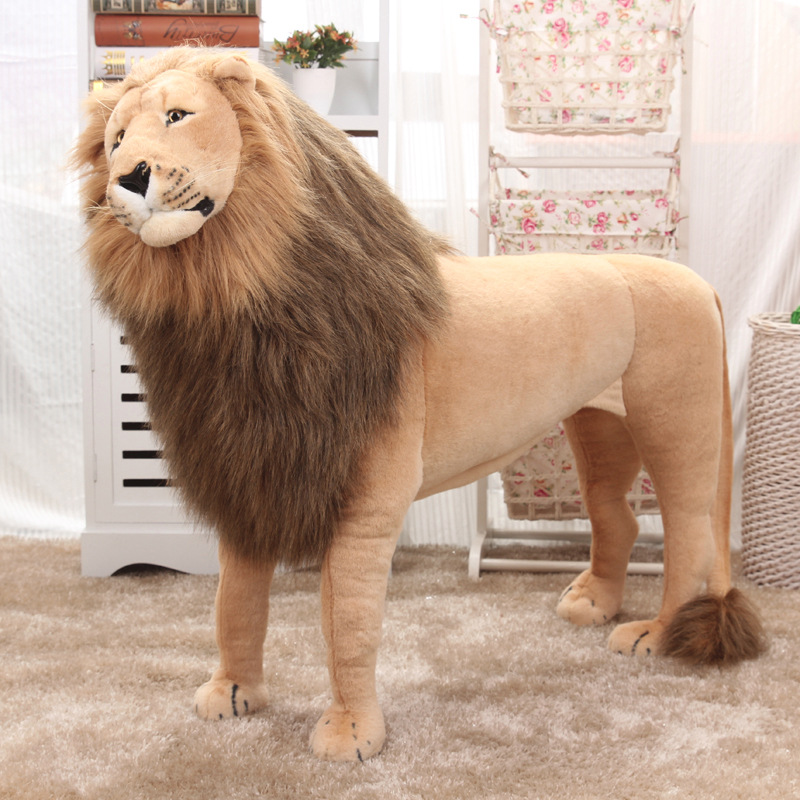 Huge Stuffed Toys Simulated Lion Large Plush Toys Children High Quality Lion Stand Christmas Gift Home Decoration 1.1m AA50MR