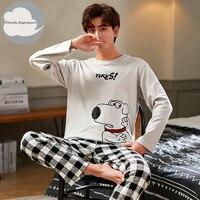 Pijama de algodón para hombre, ropa de dormir a rayas con letras, conjuntos de Pijama de dibujos animados, Pijama informal de talla grande 3XL