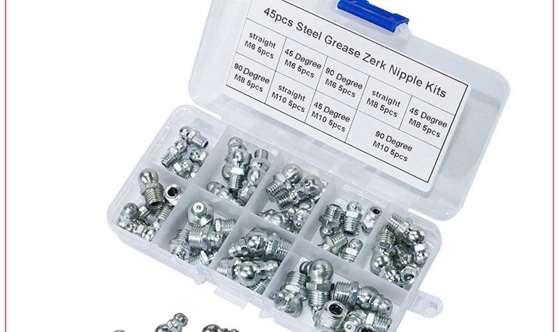 45Pcs M6//M8//M10 Metal Brass Zerk Grease Nipple Fitting Assortment Kits Samfox Grease Nipple