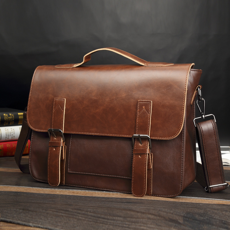 Men's Brand Vintage Briefcase Business Office Laptop Bag Crazy Horse Leather Handbag Casual Man Messenger Bags Retro Male Tote