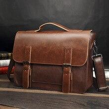 Men's Brand Vintage Briefcase Business office Laptop bag Cra