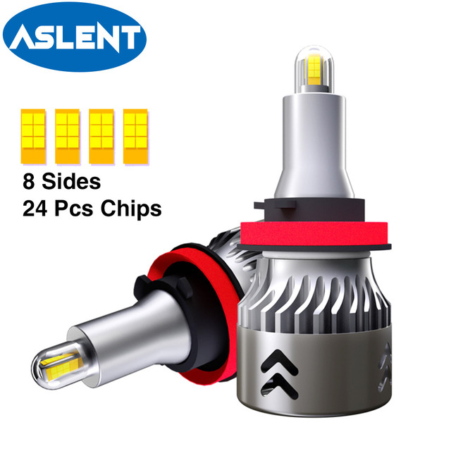 2 قطعة 24 رقائق H1 H7 H8 H11 LED مصباح سيارة العلوي لمبات HB3 9005 HB4 9006 3D LED في Canbus 360 درجة 6500K 18000LM السيارات ضوء 12V