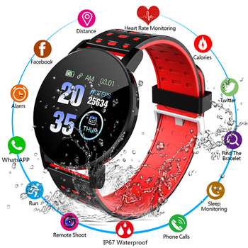 2021 New 119S Full Touch Smart Watch Men Women Sports Clock IP67 Waterproof Heart Rate Monitor Smartwatch For IOS Android Phone 1