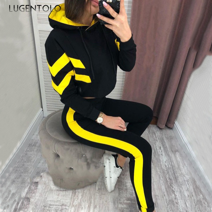 Lugentolo Women Two Piece Outfits Autumn Hooded New Tracksuit Belly Button Solid Color Print Long Sleeve Casual Sweatsuit Sets