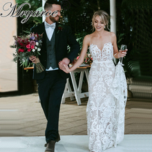 Mryarce luxo requintado laço sereia vestido de casamento cintas espaguete aberto voltar vestidos de noiva