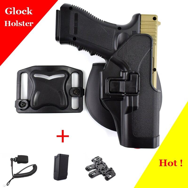 Glock tático 17 19 22 23 31 32 airsoft pistola coldre de cinto glock pistola caça acessórios caso arma mão direita