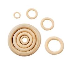 DIY 20-300 шт деревянные бусины Кольцо круги бусины необработанные натурального дерева бусины соединители 2-7 см Детские бусины для прорезывания зубов Houten kralen