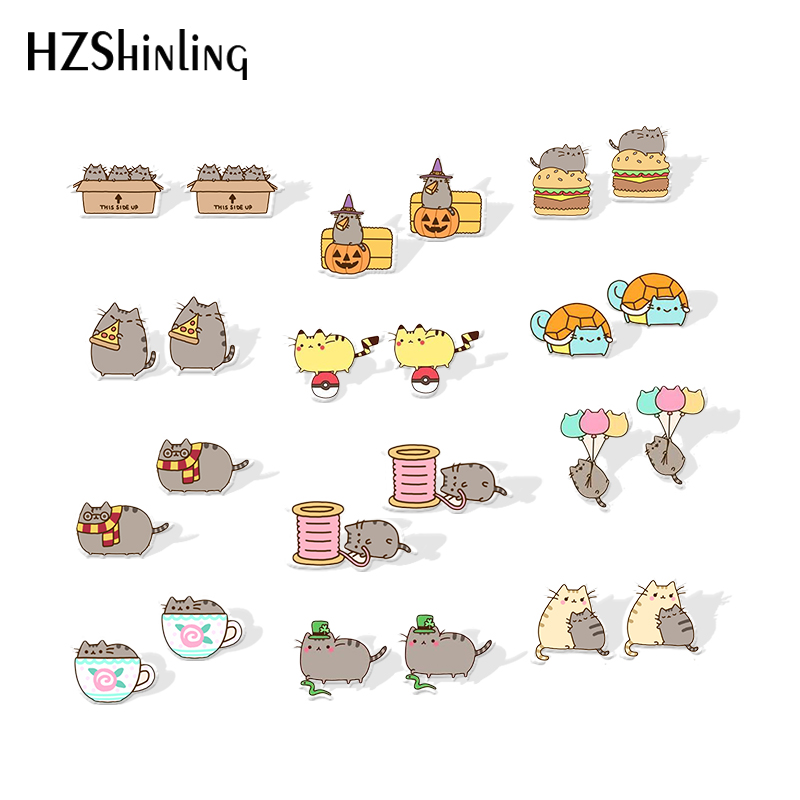 2019 New Gray Cat Acrylic Earring Silver Color Funny Cats Resin Earring Epoxy Shrink Dinks Earrings Gilfts