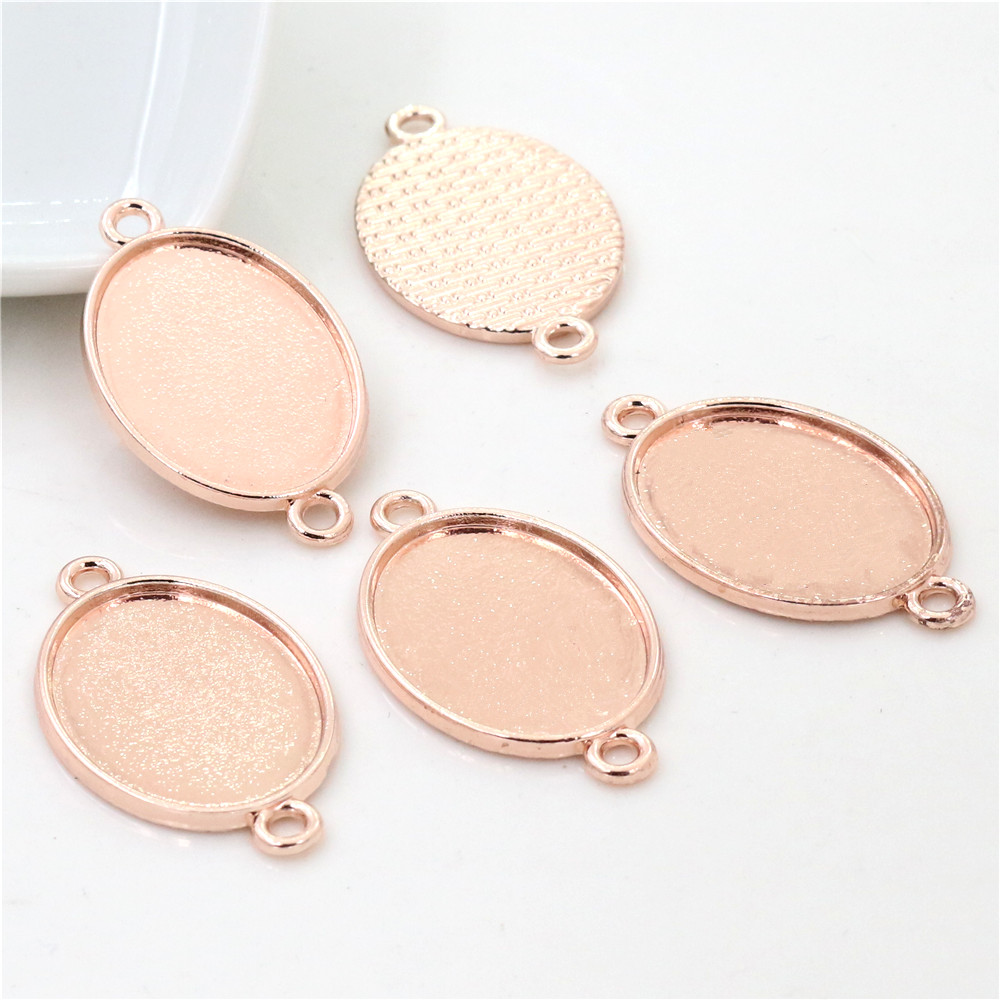 10pcs 18x25mm Inner Size Rose Gold Color Classic Style Cameo Cabochon Base Setting Charms Pendant Necklace Findings  (C2-57)