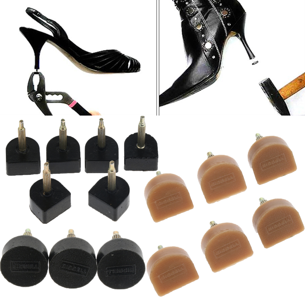 6 Pieces Women Hard Heel Plates for High-Heeled Shoes Replace Repair Kits 9 Sizes