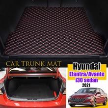 The Trunk Cargo Leather Liner Car Trunk Mat Cargo Compartment Floor Carpet Mud Kick For Hyundai Elantra Avante i30 Sedan 2021