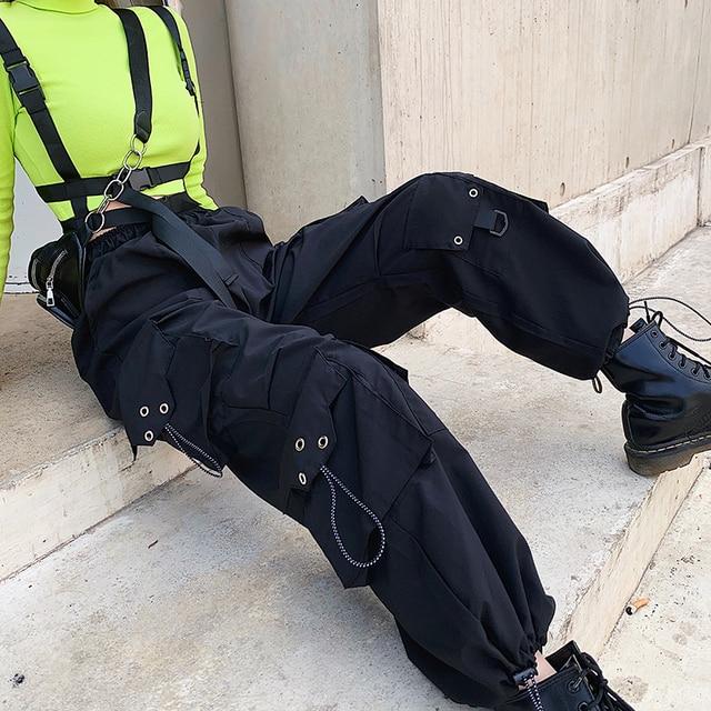 Streetwear Loose Black Cargo Pants  4