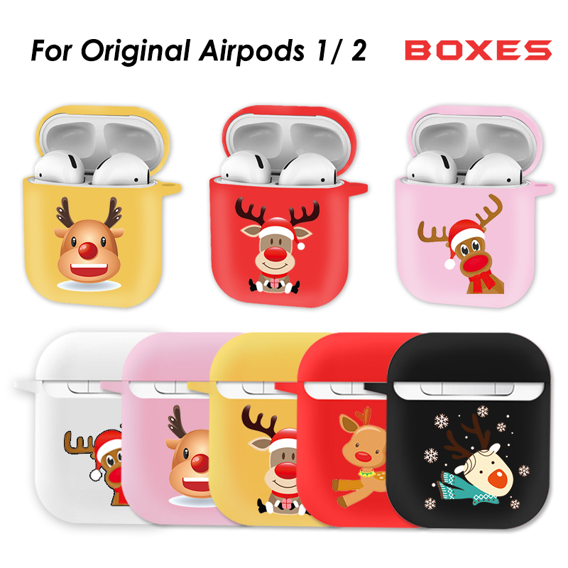 Soft Bluethooh Wireless Case For Apple Airpods 2 Accessories For AirPods Case Chrismtas Theme Storage Bag Earphone Protector
