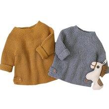 Новые весенние пуловеры с длинными рукавами для малышей, Свитера для маленьких девочек и мальчиков, модный однотонный вязаный свитер, топы, Одежда для новорожденных